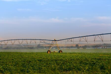 field irrigation system / field care it is very important to protect your crop 版權商用圖片