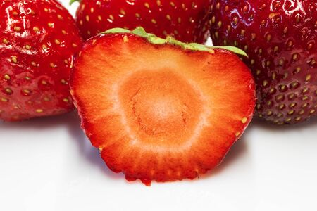 strawberry berries on a plate / ripe strawberry fruit