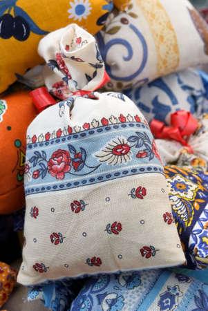 bag in Provencal cloth Stock Photo