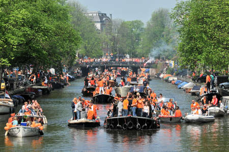 boats on the channels - queensday - amsterdam