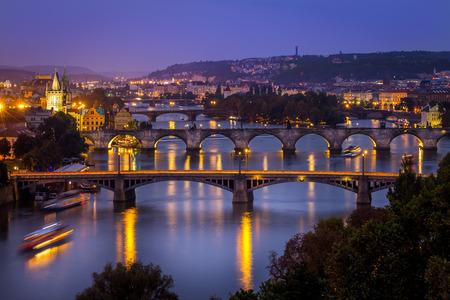 czech culture: The skyline of Prague at night (Czech Republic)