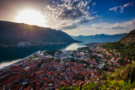 deepest: Southern Europes deepest fjord Kotor bay Montenegro. City Kotor in Kotor Bay Montenegro. Seen from path to fortress above city.