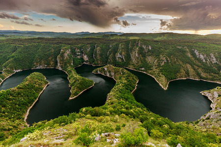 river: Wonderful canyon with the curving river. Special Reserve of Nature Stock Photo