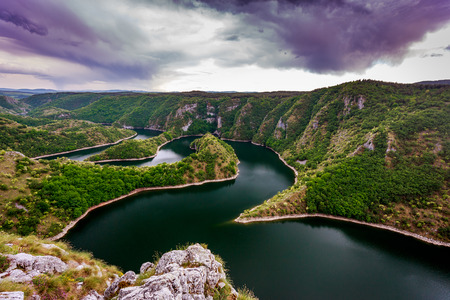 serbia: Wonderful canyon with the curving river. Special Reserve of Nature Stock Photo