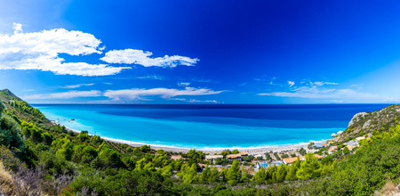 ionian island: Kathisma beach at Lefkada, Greece.  one of the best beaches in Lefkada Island in Ionian Sea Stock Photo