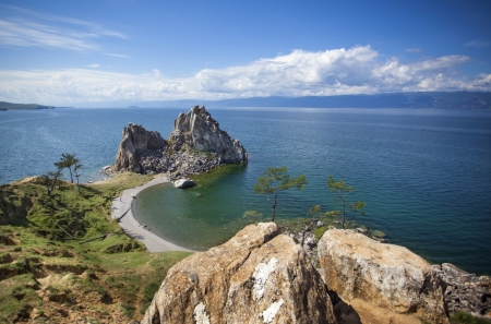 shamanism: The rock in the lake Baikal Stock Photo