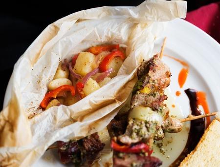 meat skewers: Grilled meat skewers with vegetables. Shallow field of depth, focus on vegetables