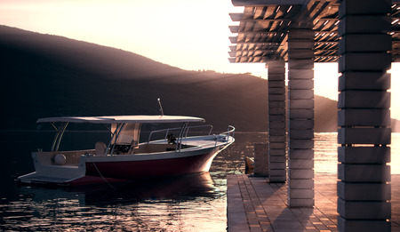 motor boat: Motor boat near pier on calm sea, sunset. Toned