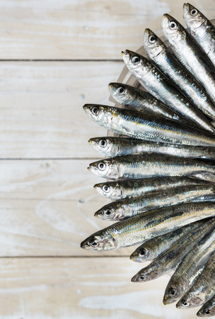 Sardines on the edge of plastic bucket, old wooden background