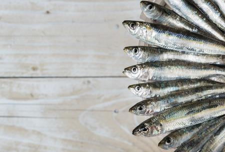 sardinas: Sardinas en el borde del cubo de plástico viejo fondo de madera Foto de archivo