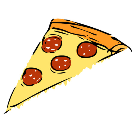 cheesy: Elementary vector drawing of pizzas slice with salami
