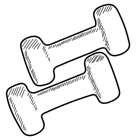 hand with dumbbells: Pair of vector dumbbells, hand drawn, black and white