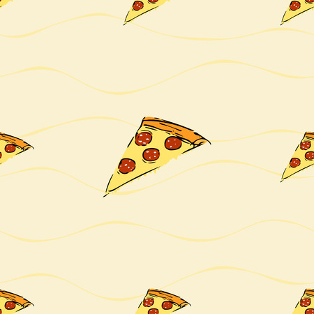 smaller: Seamless pattern with pizza slice, big in middle and smaller around Illustration