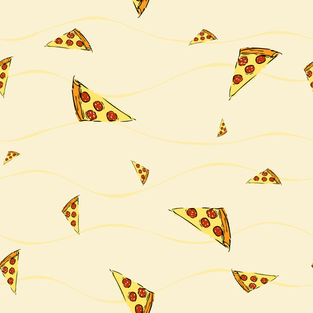 smaller: Seamless pattern with pizza slice, smaller and bigger slices in chaotic order