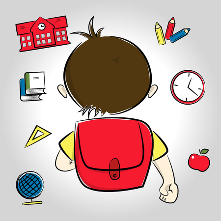 Dark haired or asian boy going to school, school items around