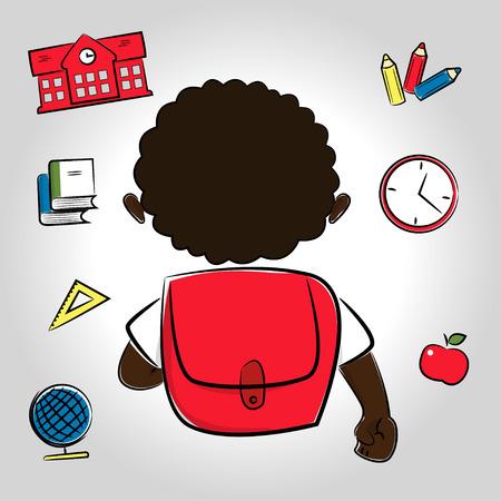 african american boy: African American boy going to school, school items around