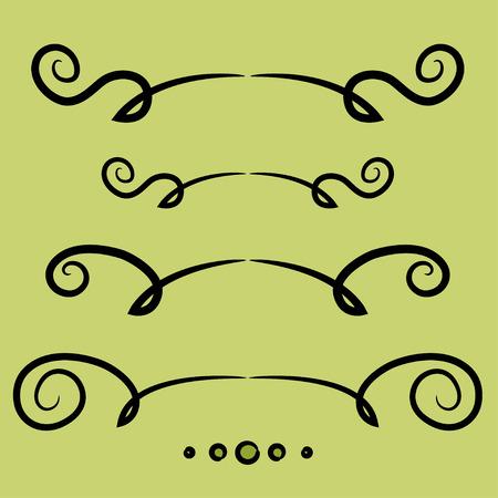decorative lines: Conjunto de l�neas y c�rculos decorativos, remolinos florales