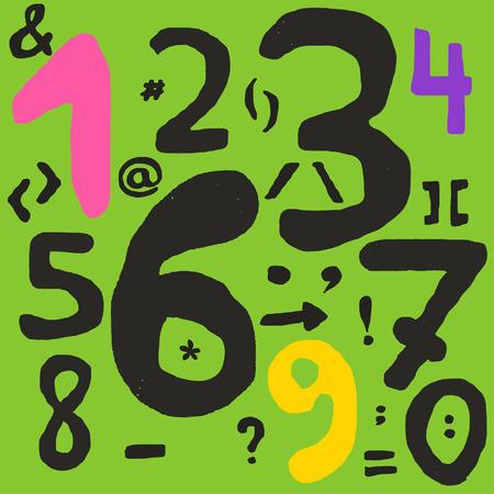 simbolos matematicos: Dibujado a mano los n�meros y s�mbolos matem�ticos con l�neas imprecisas, llenar de s�mbolos tiene peque�os agujeros
