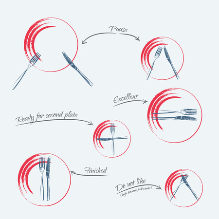 formal place setting: Dining etiquette - signals of forks and knifes, blue-red colors Stock Photo