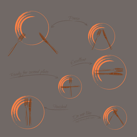 formal place setting: Dining etiquette - signals of forks and knifes, orange-brown colors