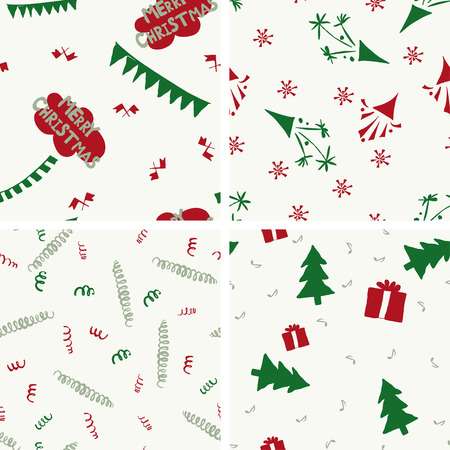 green and red: 4 seamless christmas patterns, green- red colors