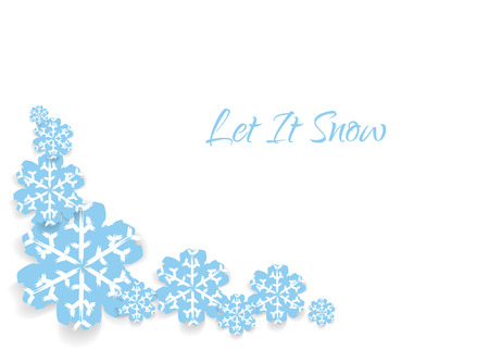 let it snow: Card with hand drawn snowflakes and text LET IT SNOW