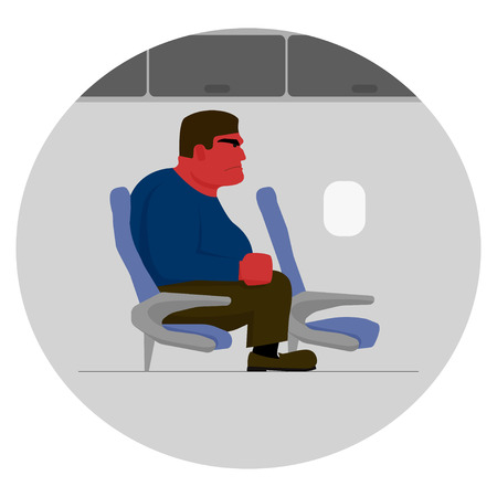 angry look: Angry man with red face and clenched fist, too big for seat on plane
