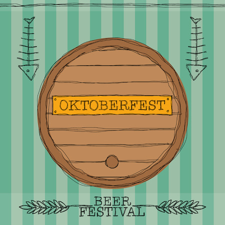 tun: Poster for Oktoberfest with tun, fish bones and whey