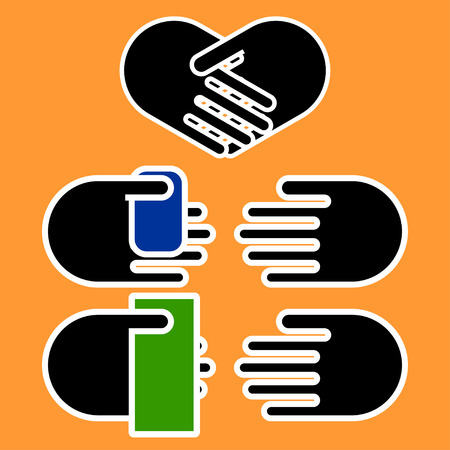 paying: Three business hands gestures: handshake in shape of heart, paying with card and paying with cash