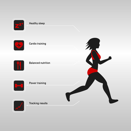 Silhouette of running woman and fitness infographic