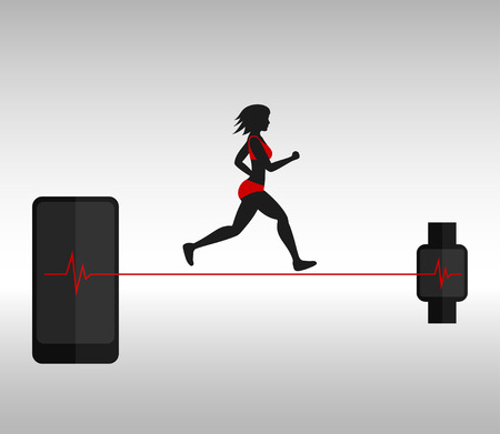 woman smartphone: Running woman and smartphone with smartwatch tracking her pulse