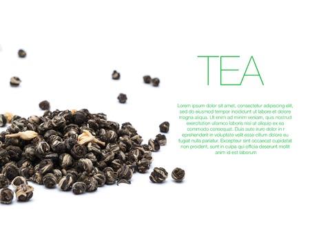 gunpowder: Hill of green gunpowder tea on white background with text Stock Photo