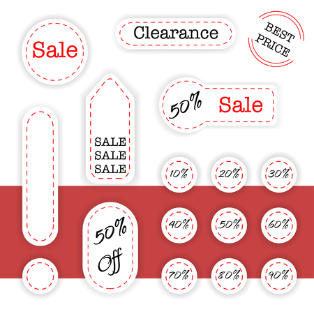 grand sale sticker: Set of sale labels with shadows and dotted lines