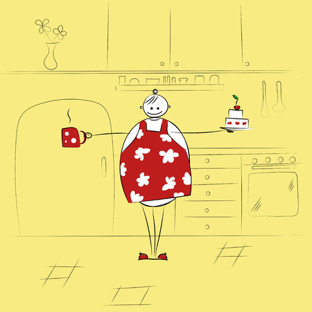 big woman: Happy big woman in the kitchen with cake and cup of drink