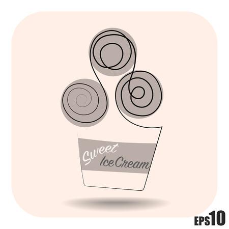 helado caricatura: Simple crema vector de hielo, taza con tres bolas y lable