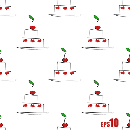 in order: Seamless pattern with cakes in geometric order