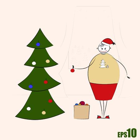 big woman: Happy big woman decorating Christmas tree