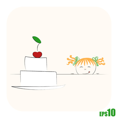 Small ginger girl watching from behind table on big cake Illustration