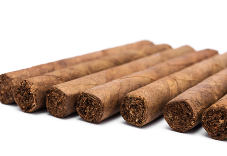 rich flavor: Cigars in diagonal row on white background
