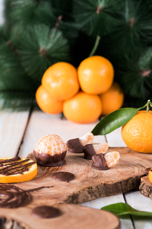 orange peel clove: Citruses with chocolate on wooden board, on background whole fruits and fir tree