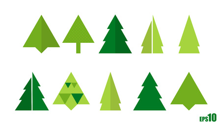 elemental: Set of elemental and abstract christmas trees Illustration