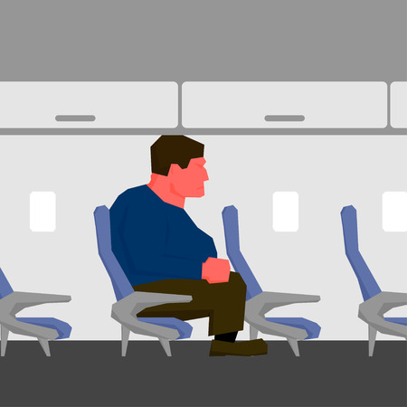 uncomfortable: Angry man with red face and clenched fist, too big for seat on plane