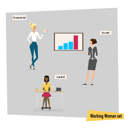 appearance: Set of working women at office, different appearance