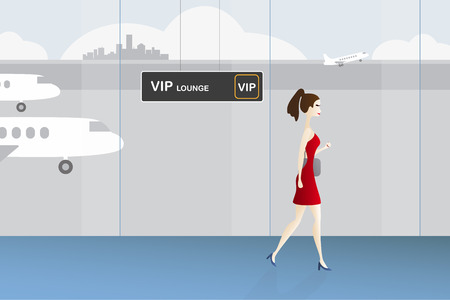 departure board: Woman walking to VIP lounge at the airport