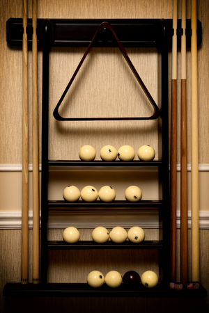 vignette: Stand with equipment for russian billiards, vignette