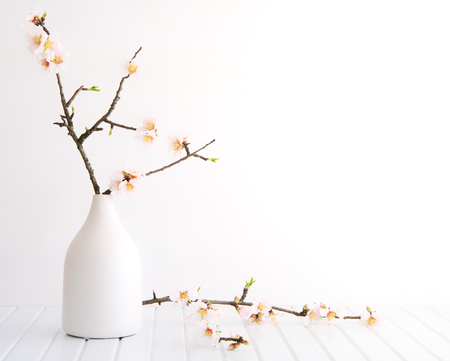 Vase with cherry blossom on wooden background Standard-Bild