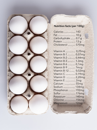 Box with white eggs and nutrition facts on white background