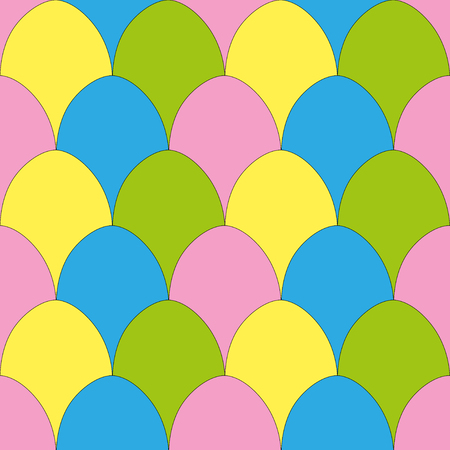 Simple seamless pattern with painted eggs in a rows