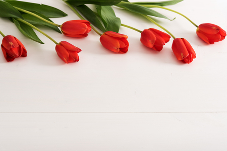 Colorful tulips on white wooden table with copy space