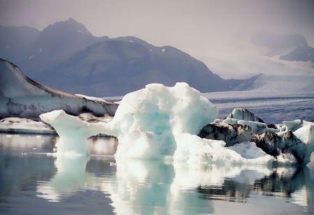 Ijsbergen, Zuid-IJsland Stockfoto